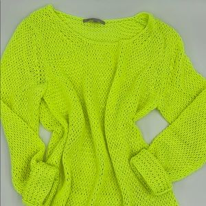 Gap Sweater in Neon Yellow/ Green 80's Vibe!